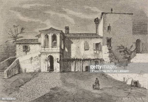 The house of Francesco Petrarca at Arqua Italy drawing by Tofani illustration from Nuova illustrazione Universale Year 1 Vol II No 36 July 26 1874