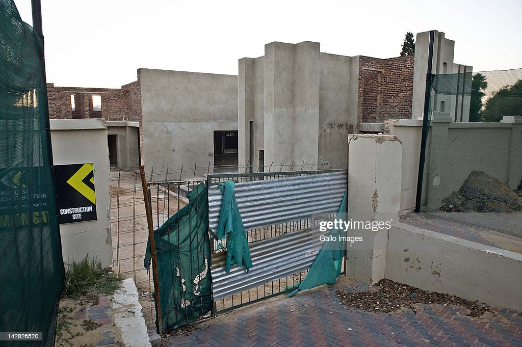 The house of Julius Malema, the president of the African National Congress Youth League, in Silvela Street, Sandown Estate on April 11, 2012 in Sandton, South Africa. According to reports, construction work has halted after Malema was unable to settle debt of R400 000 owed to the contractor.