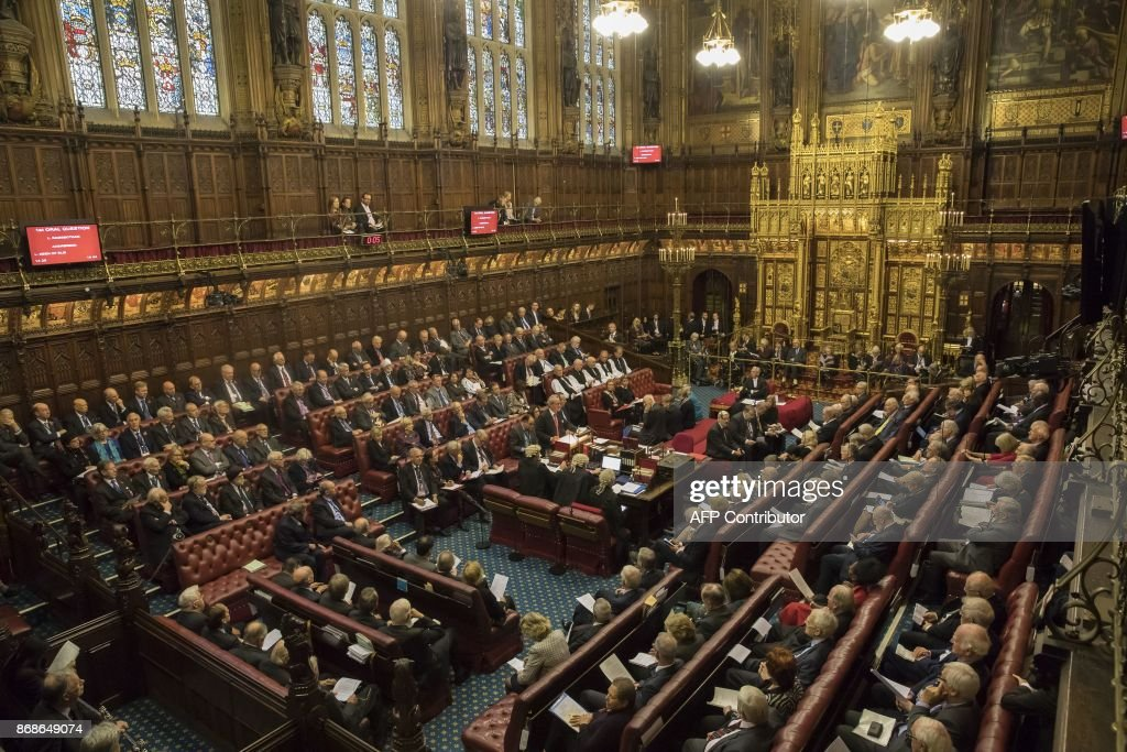 The House of Lords chamber sits in session at the Houses of Parliament in London on October 31, 2017. The House of Lords is the upper house of the UK parliament. / AFP PHOTO / POOL / Dan Kitwood
