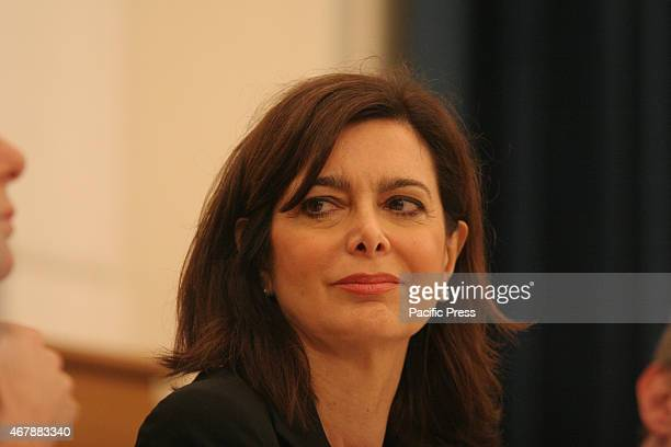 The House Speaker Laura Boldrini emits to the organized crime 'does not give anything and just off' during the ceremony at the University Federico II...