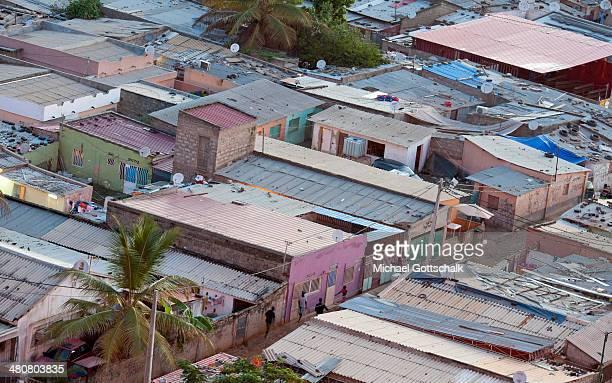 The houses of indigen inhabitants of Luanda next to the coast on March 26 2014 in Luanda Angola