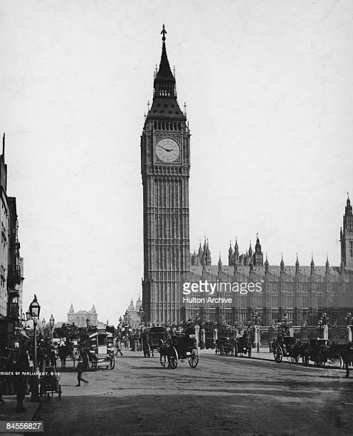 The Houses of Parliament and Big Ben seen from Parliament Square London circa 1880