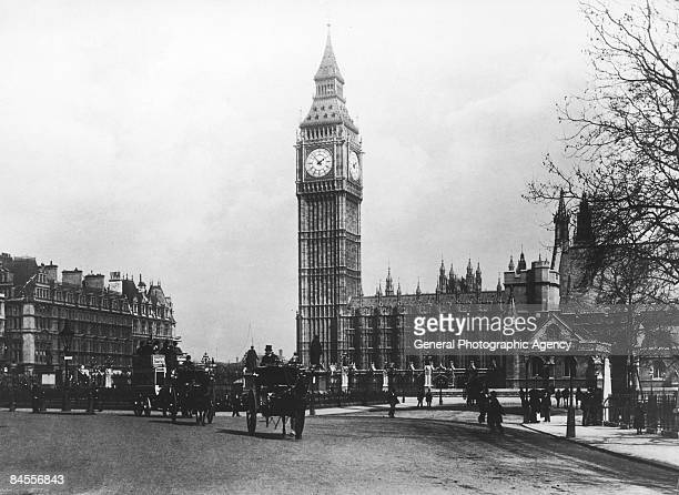 The Houses of Parliament and Big Ben seen from Parliament Square London circa 1900