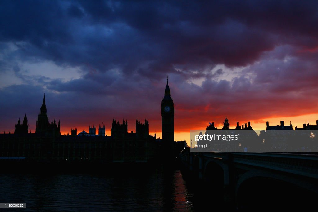 The Houses of Parliament and Big Ben viewed at sunset on July 21, 2012 in London, England. The opening ceremony of London 2012 Olympic Games will take place on July 27, 2012.
