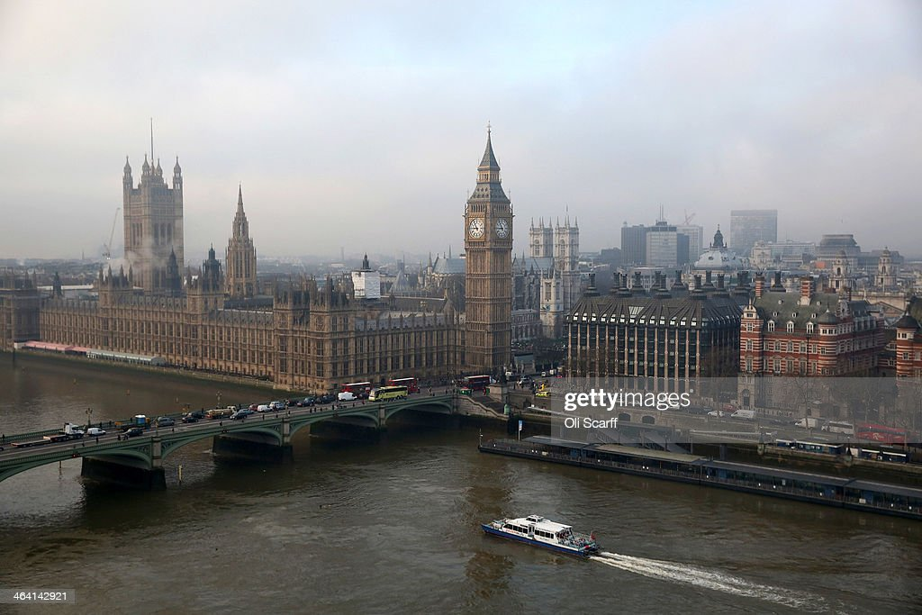 The Houses of Parliament and the river Thames on January 21, 2014 in London, England.