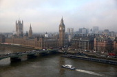 The Houses of Parliament and the river Thames on January 21 2014 in London England