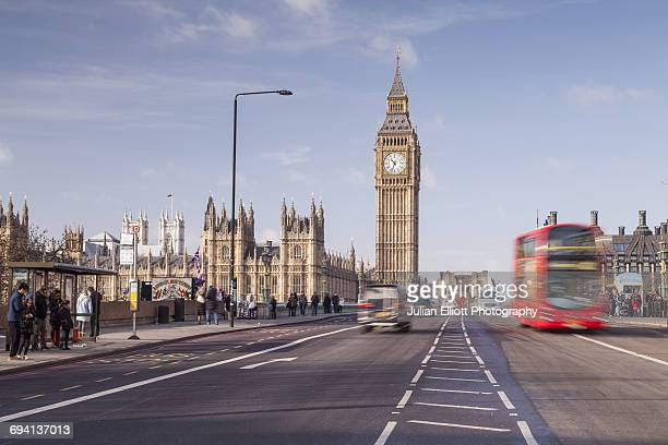 The Houses of Parliament and Westminster Bridge.