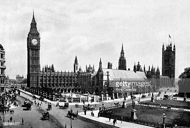 The Houses of Parliament and Westminster Hall seen from Parliament Square London c1905 The railings in the foreground have since been removed...