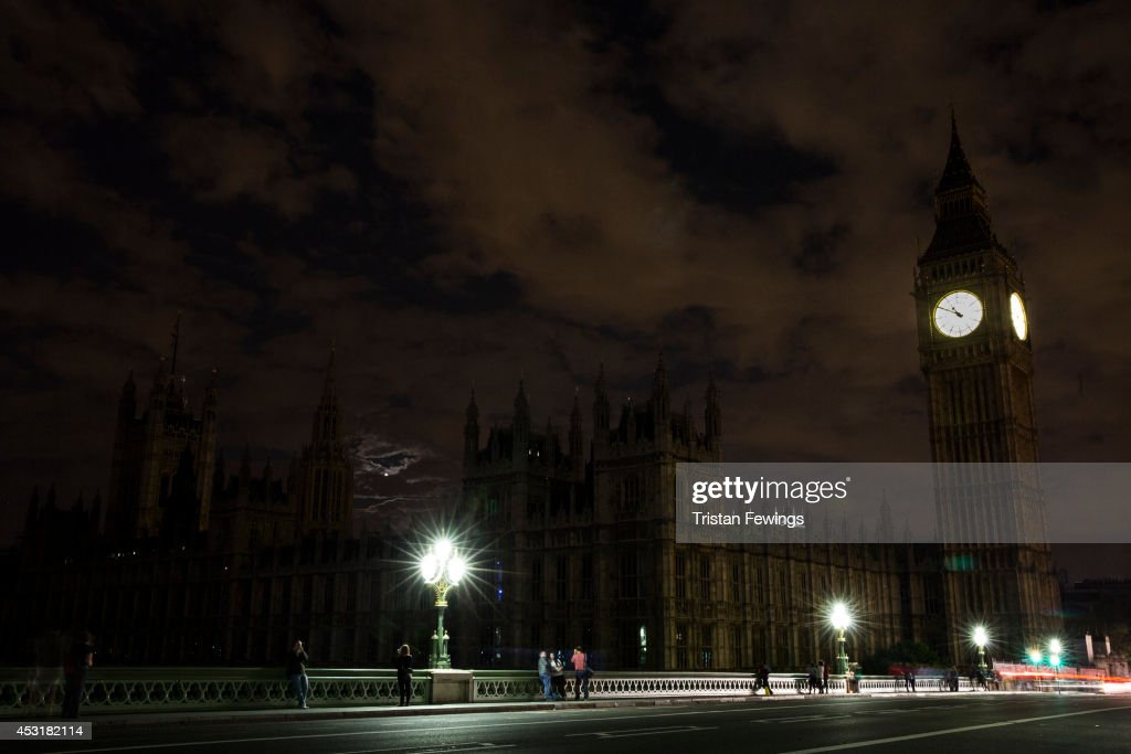 The Houses of Parliament are seen in darkness as the lights are turned off iconic buildings as the city marks the centenary of the outbreak of World...