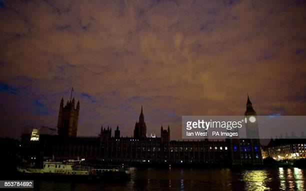 The Houses of parliament in London after the lights have been turned off as part off the national 'Lights Out' campaign of remembrance marking 100...