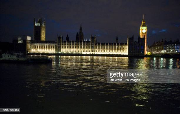 The Houses of parliament in London before the lights have been turned off as part off the national 'Lights Out' campaign of remembrance marking 100...