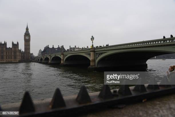 The Houses of Parliament in Westminster London on March 24 2017 The city is back to normal business but the police's survelliance is in a state of...