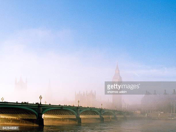 The Houses of Parliament shrouded in fog