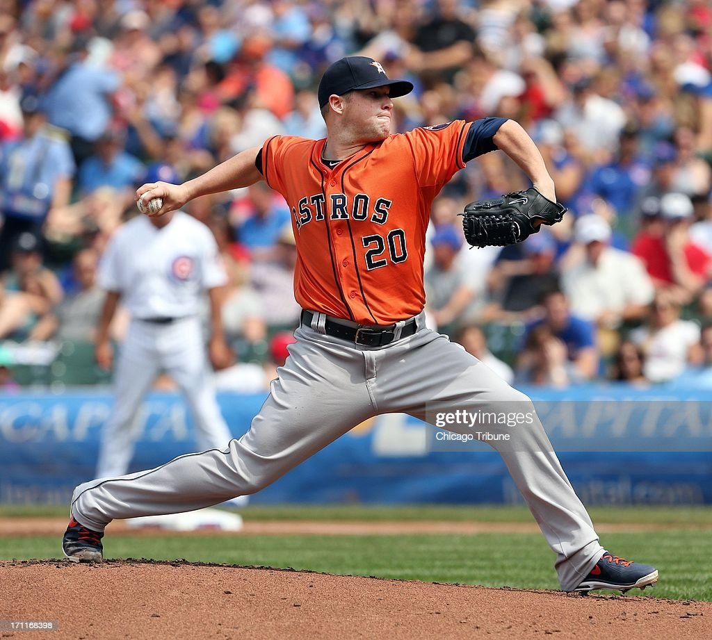 The Houston Astros' Bud Norris pitches against the Chicago Cubs in the first inning at Wrigley Field in Chicago, Illinois, on Saturday, June 22, 2013. Houston won, 4-3.