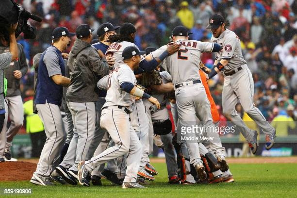 The Houston Astros celebrate defeating the Boston Red Sox 54 in game four of the American League Division Series at Fenway Park on October 9 2017 in...