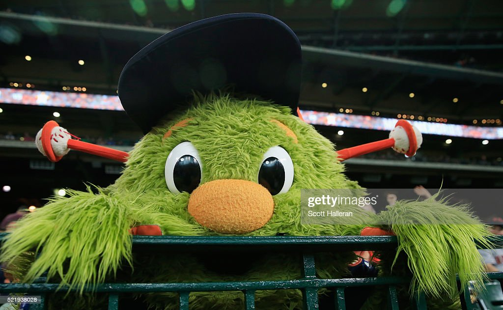The Houston Astros mascot Orbit waits near the dugout in the seventh inning of their game against the Detroit Tigers at Minute Maid Park on April 17, 2016 in Houston, Texas.