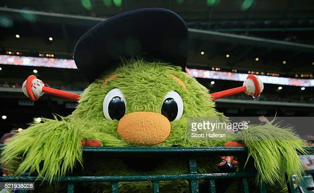 The Houston Astros mascot Orbit waits near the dugout in the seventh inning of their game against the Detroit Tigers at Minute Maid Park on April 17...