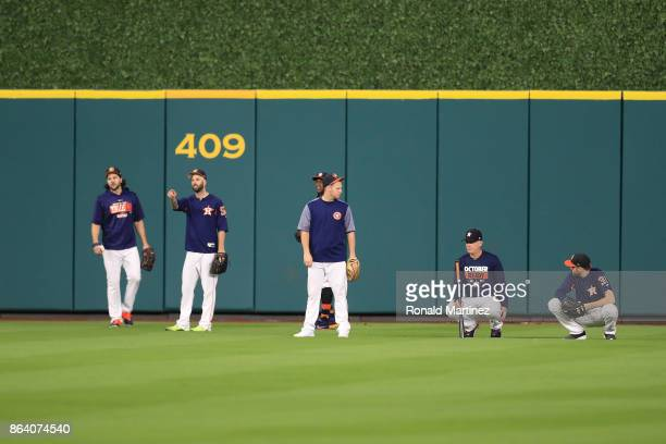 The Houston Astros stand in the outfield prior to Game Six of the American League Championship Series against the New York Yankees at Minute Maid...