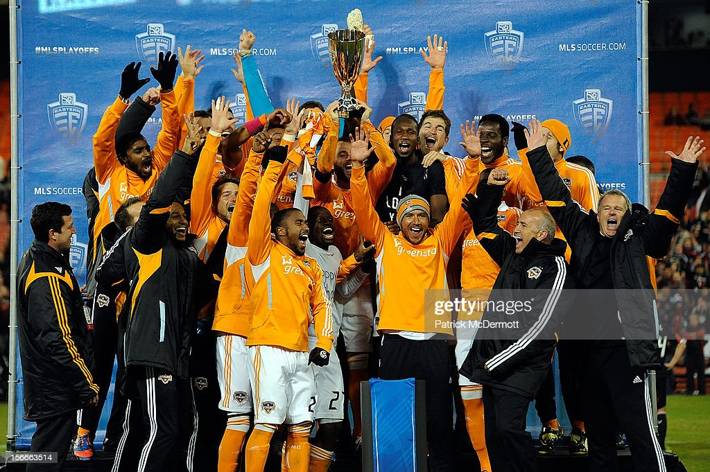 The Houston Dynamo celebrate after winning the MLS 2012 Eastern Conference Championship over D.C. United at RFK Stadium on November 18, 2012 in Washington, DC.