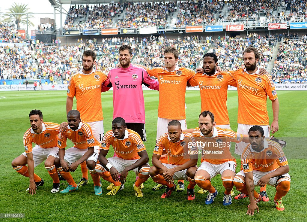 The Houston Dynamo pose for their team picture before taking on the Los Angeles Galaxy in the 2012 MLS Cup at The Home Depot Center on December 1...