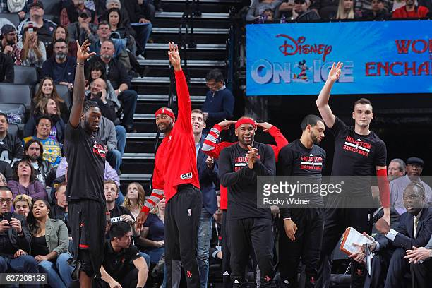 The Houston Rockets bench cheer on their teammates against the Sacramento Kings on November 25 2016 at Golden 1 Center in Sacramento California NOTE...