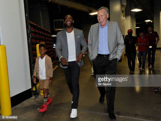 The Houston Rockets Chris Paul and Head Coach Mike D'Antoni shares a laugh on July 14 2017 at the Toyota Center in Houston Texas NOTE TO USER User...