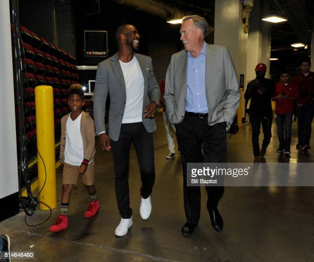 The Houston Rockets Chris Paul and son Lil Chris prepares to be introduced to the fans on July 14 2017 at the Toyota Center in Houston Texas NOTE TO...