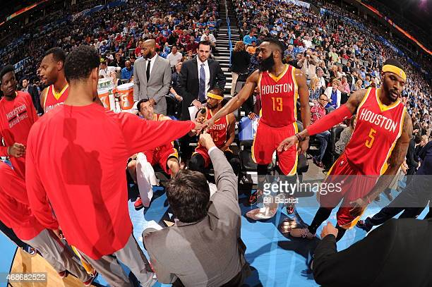The Houston Rockets huddle during the game against the Oklahoma City Thunder on April 5 2015 at Chesapeake Energy Arena in Oklahoma City Oklahoma...