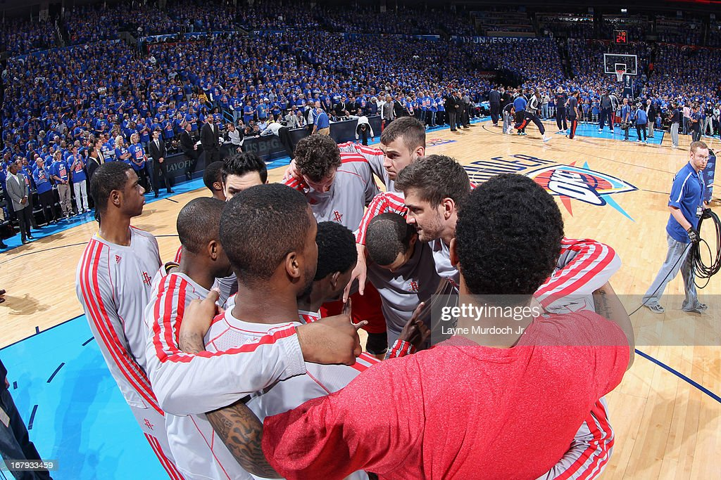 The Houston Rockets huddle up before the game against the Oklahoma City Thunder in Game Five of the Western Conference Quarterfinals during the 2013 NBA Playoffs on May 1, 2013 at the Chesapeake Energy Arena in Oklahoma City, Oklahoma.