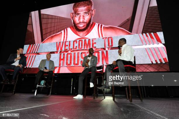 The Houston Rockets introduce Chris Paul and chats with Calvin Murphy on July 14 2017 at the Toyota Center in Houston Texas NOTE TO USER User...