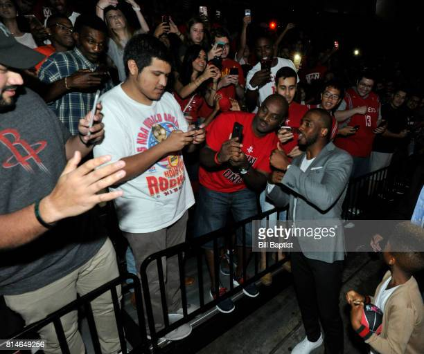 The Houston Rockets introduce Chris Paul and takes a selfie with the fans on July 14 2017 at the Toyota Center in Houston Texas NOTE TO USER User...