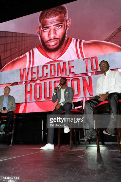 The Houston Rockets introduce Chris Paul to the fans on July 14 2017 at the Toyota Center in Houston Texas NOTE TO USER User expressly acknowledges...