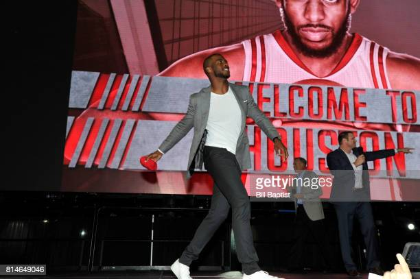 The Houston Rockets introduce Chris Paul toss tshirts to the fans on July 14 2017 at the Toyota Center in Houston Texas NOTE TO USER User expressly...