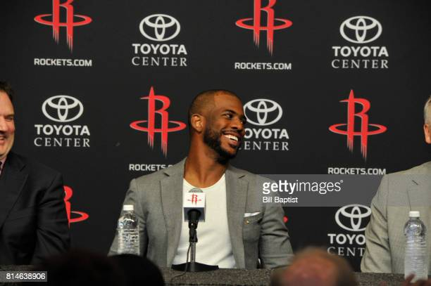 The Houston Rockets introduces Chris Paul as he speaks to the media during a press conference on July 14 2017 at the Toyota Center in Houston Texas...