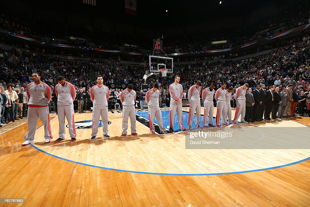 The Houston Rockets line up before the game against the Minnesota Timberwolves on December 26, 2012 at Target Center in Minneapolis, Minnesota.