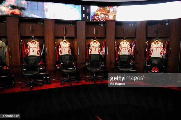 The Houston Rockets locker room before facing off against the Los Angeles Clippers for Game Five of the Western Conference Semifinals during the NBA...