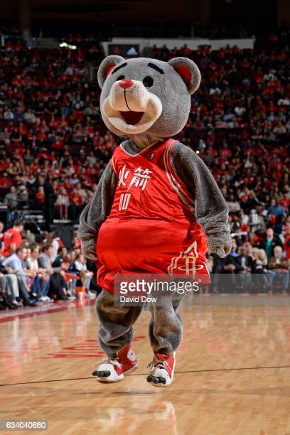 The Houston Rockets mascot Clutch dances for the crowd during the game against the Chicago Bulls on February 3 2017 at the Toyota Center in Houston...