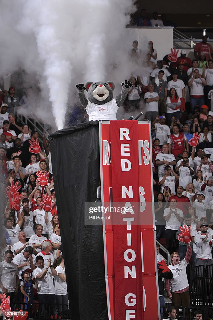 The Houston Rockets mascot gets the crowd into the game against the Oklahoma City Thunder in Game Three of the Western Conference Quarterfinals during the 2013 NBA Playoffs on April 27, 2013 at the Toyota Center in Houston, Texas.