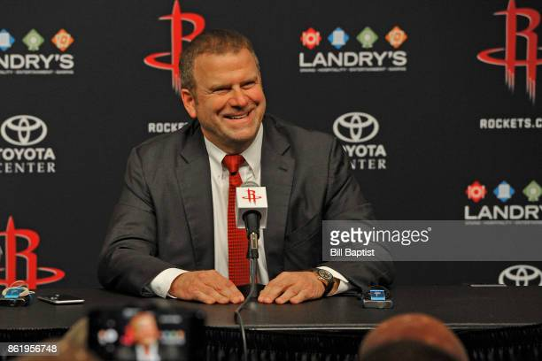 The Houston Rockets new owner Tilman Fertitta is introduced during a press conference at The Toyota Center in Houston Texas on October 10 2017 NOTE...