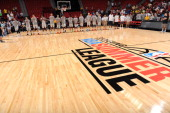 The Houston Rockets stand during the National Anthem before the game against the Charlotte Hornets at the Samsung NBA Summer League 2014 on July 20...