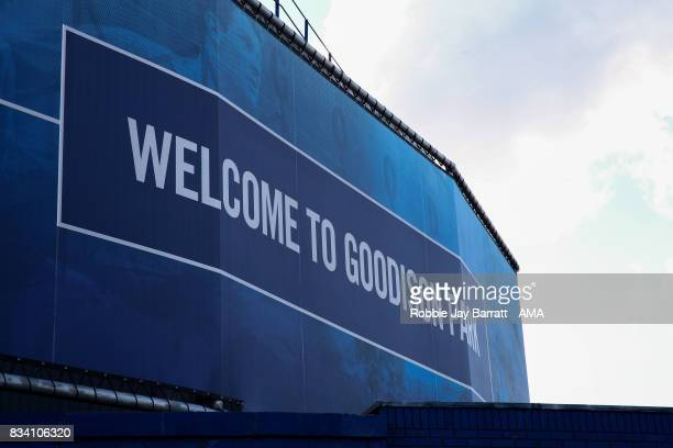 The Howard Kendall Gwladys Street End at Goodison Park home stadium of Everton prior to the UEFA Europa League Qualifying PlayOffs round first leg...