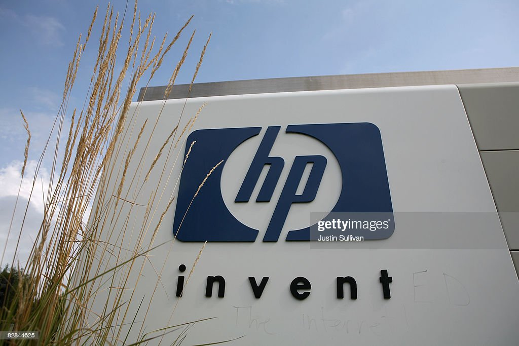 The HP logo is displayed on the entrance to the Hewlett-Packard Headquarters September 16, 2008 in Palo Alto, California. Hewlett-Packard announced on Monday that it is planning to cut 24,600 jobs worldwide over the next three years after its purchase of Electronic Data Systems for $13.9 billion.