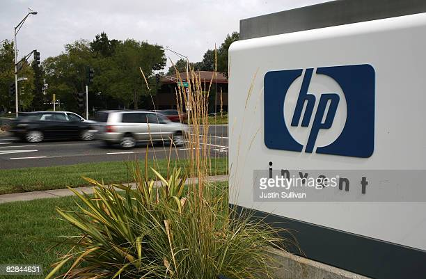 The HP logo is displayed on the entrance to the HewlettPackard Headquarters September 16 2008 in Palo Alto California HewlettPackard announced on...
