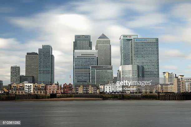 The HSBC Holdings Plc headquarter stands in the Canary Wharf business financial and shopping district on February 15 2016 in London England HSBC has...
