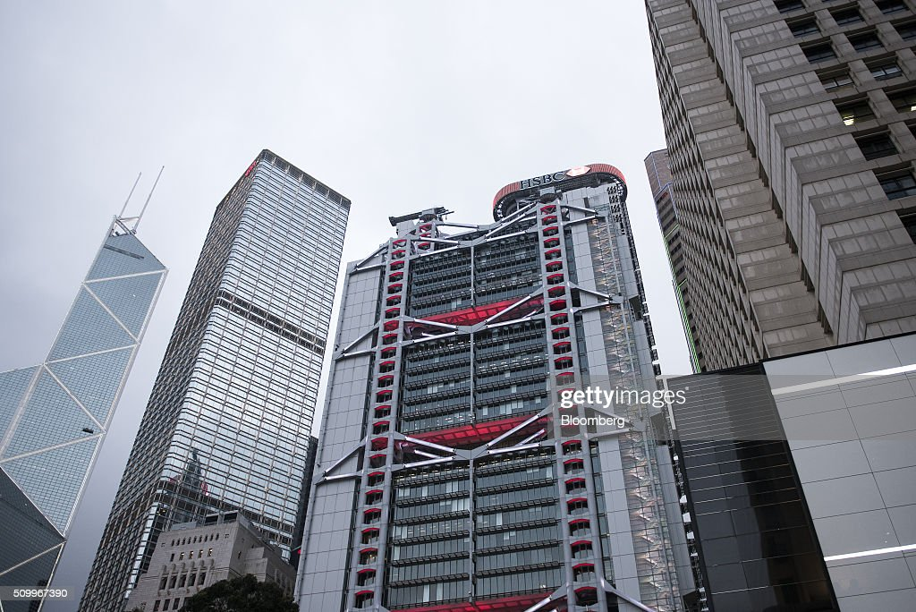 The HSBC Holdings Plc headquarters building stands in Hong Kong, China, on Saturday, Feb. 13, 2016. HSBC's board will meet on Sunday to decide whether to shift its headquarters from London, according to two people with knowledge of the decision. Photographer: Xaume Olleros/Bloomberg via Getty Images