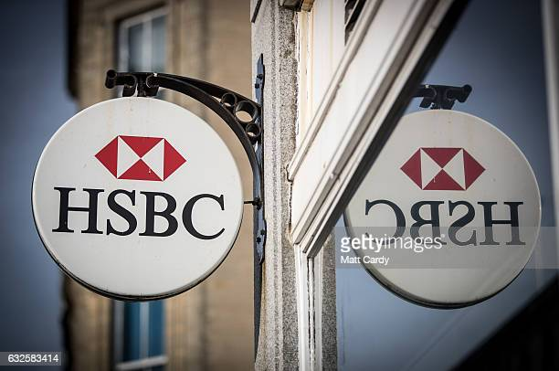 The HSBC logo is seen outside a branch of the bank on January 24 2017 in Bristol England High street lender HSBC has announced it is to close a...