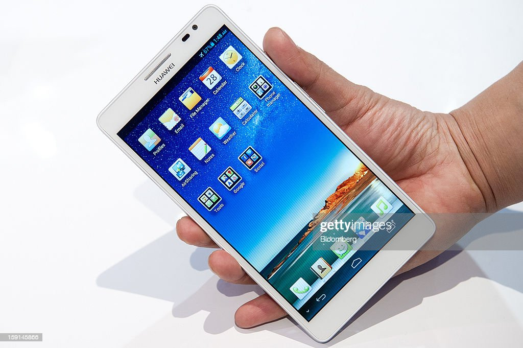 The Huawei Technologies Co. Ascend Mate smartphone is arranged for a photograph at the 2013 Consumer Electronics Show in Las Vegas, Nevada, U.S., on Tuesday, Jan. 8, 2013. The 2013 CES trade show, which runs until Jan. 11, is the world's largest annual innovation event that offers an array of entrepreneur focused exhibits, events and conference sessions for technology entrepreneurs. Photographer: David Paul Morris/Bloomberg via Getty Images