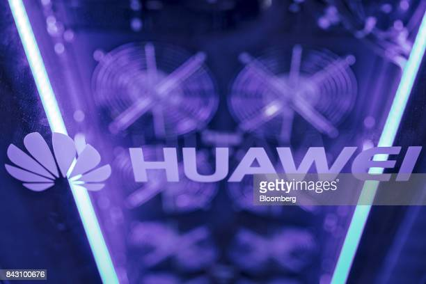 The Huawei Technologies Co logo is displayed on a server at the Huawei Connect 2017 conference in Shanghai China on Tuesday Sept 5 2017 Huawei aims...