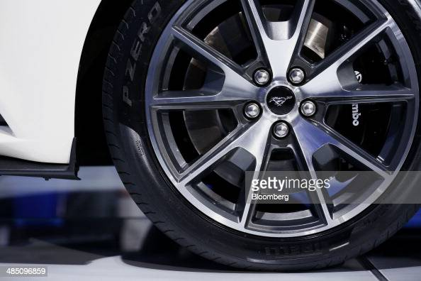 The hubcap of the limited edition Ford Motor Co Mustang GT is seen at the 2014 New York Auto Show in New York US on Wednesday April 16 2014 Ford...