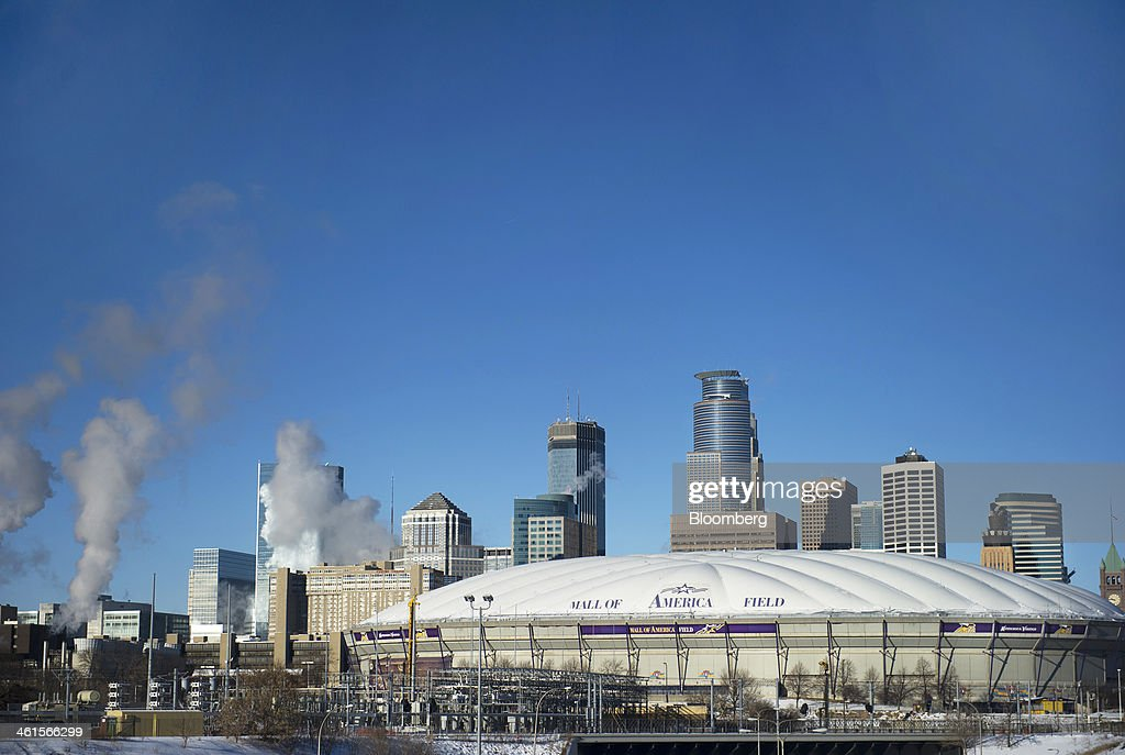 The Hubert H. Humphrey Metrodome, as seen from Highway 35W , stands in Minneapolis, Minnesota, U.S., on Tuesday, Jan. 7, 2014. The new stadium that will replace the Metrodome is expected to generate development in downtown Minneapolis and provide a venue for national events such as the Super Bowl, said Michele Kelm-Helgen, chair of the Minnesota Sports Facilities Authority, which is overseeing the project at the site of the existing Metrodome. Photographer: Matthew Hintz/Bloomberg via Getty Images